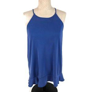 Ann Taylor Loft Periwinkle Blue Ruffle Tank Top